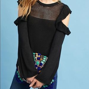 Maeve Ruffled Open Cold Shoulder Sweater in Black